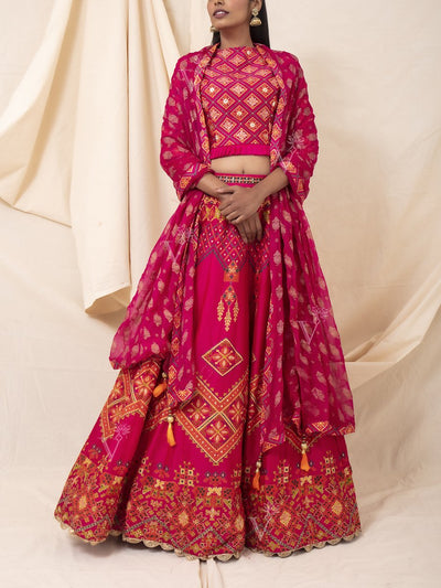Hot Pink Silk Printed Lehenga Set