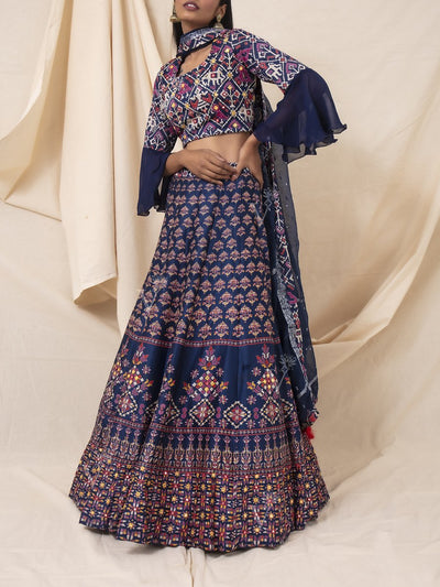 Navy Blue Silk Patola Printed Lehenga Set