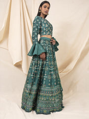 Tropical Green Silk Printed Lehenga Set