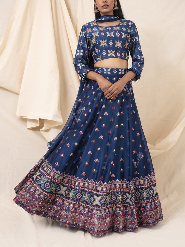 Navy Blue Silk Printed Lehenga Set