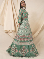 Green Geometrical Printed Silk Lehenga Set
