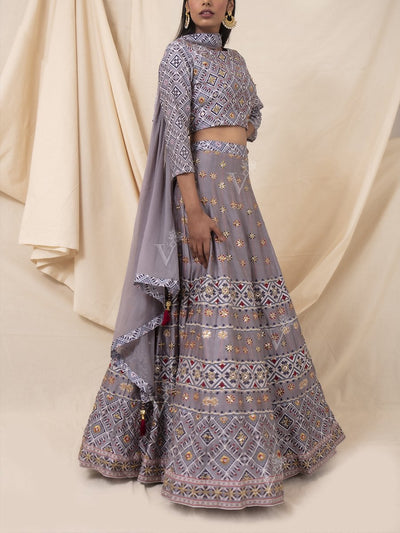 Grey Geometrical Printed Silk Lehenga Set