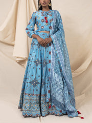 Cyan Blue Geometrical Silk Printed Lehenga Set