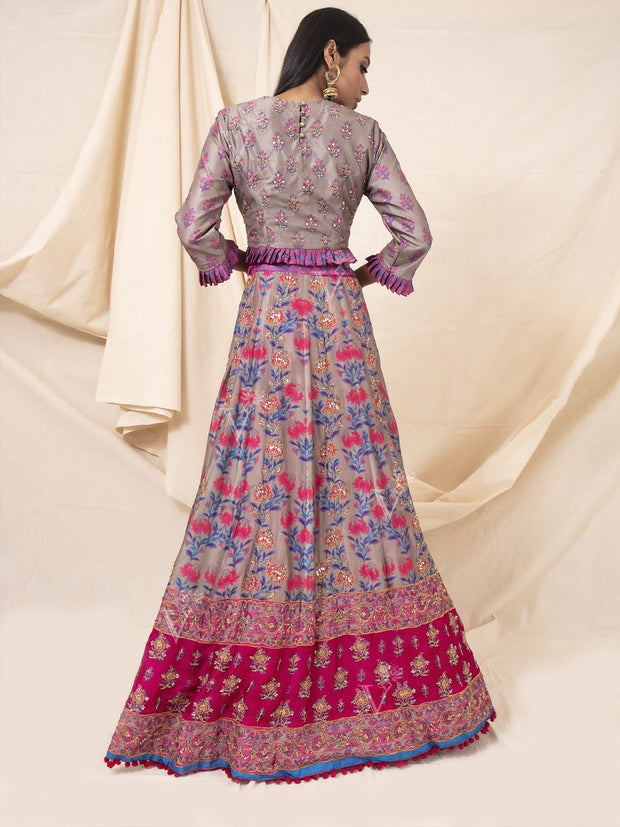 Grey And Pink Silk Printed Lehenga Set