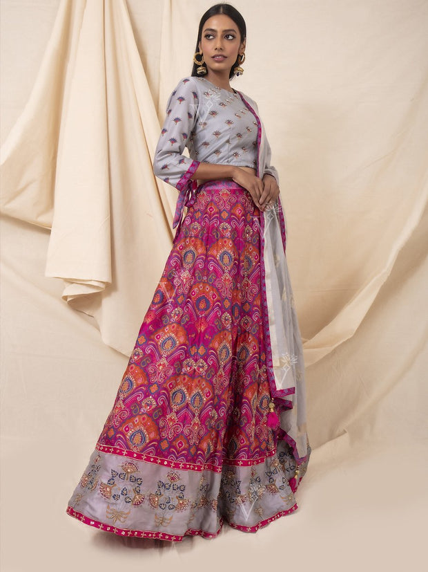 Pink And Grey Silk Printed Lehenga Set