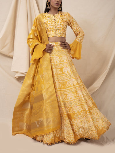 Mango Yellow Elephant Printed Lehenga Set
