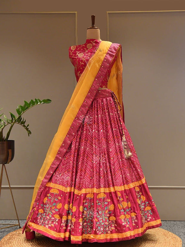 Lehenga Set, Lehengas, Lehenga, Traditional Wear, Prints, Printed Lehenga, Digital Print , Light Lehengas, Light Wear, Bandhej, Bandhani