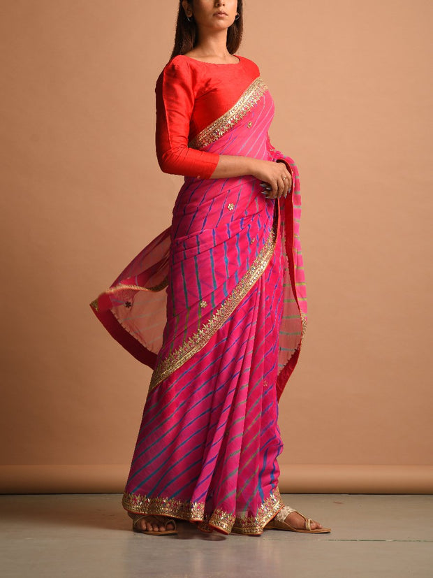 Pink Shaded Pure Georegette Leheriya Saree
