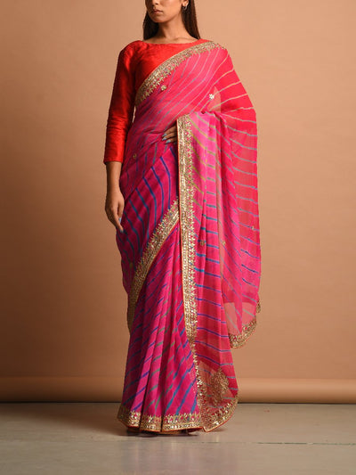 Saree, Sarees, Sari, Saris, Bandhani, Bandhej, Jaipuri, Rajasthani, Traditional, Traditional wear, Traditional outfit, Festive wear, Pure georgette, Georgette saree, Gota patti, Gota patti saree, DD00,  _label_NEW