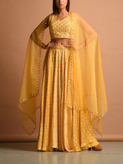 Corn Yellow Satin Bandhani Lehenga Set