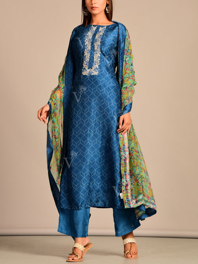 BLUE SilkHand Embroidery Printed Suit Set