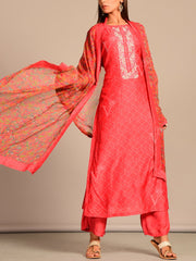Coral Printed Hand Embroidery Suit Set