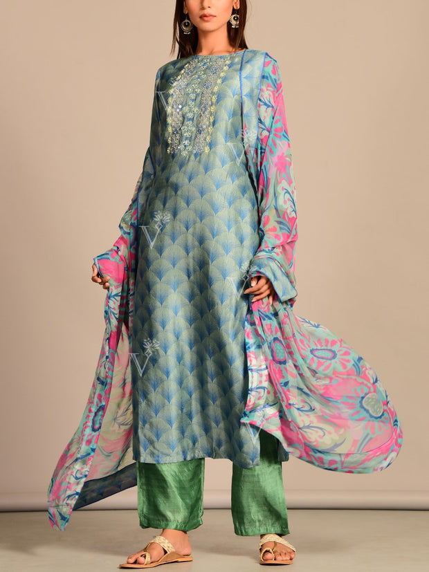 Ligh Blue Printed Silk Suit Set