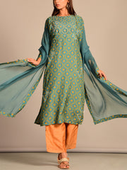 Blue Printed Hand Embroidered Silk Suit Set