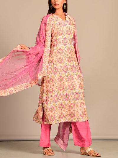 Off White Pink Printed Silk Suit Set