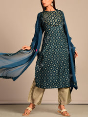 Teal Blue Silk Printed Suit Set