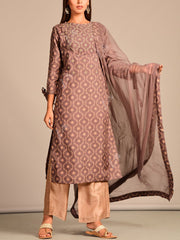 BROWN Printed Hand Embroidery Suit Set
