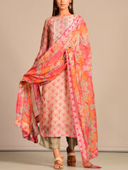 Pink Printed Hand Embroidery Suit Set