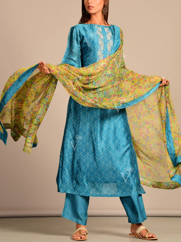 Blue Silk Hand Embroidery Printed Suit Set