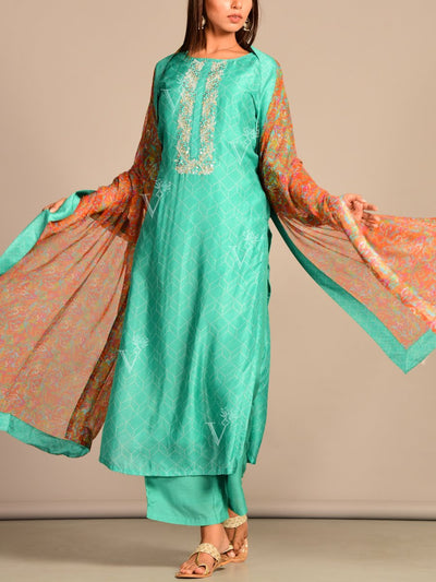 GREEN Printed Hand Embroidery Suit Set