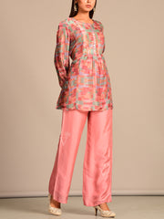 Pink Printed Silk Pant Set