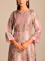 Lavender Grey Silk Printed Kurta Set