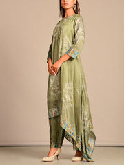 Laurel Green Silk Kaftan Set