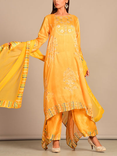 Mango Yellow Silk Printed Kaftan Set