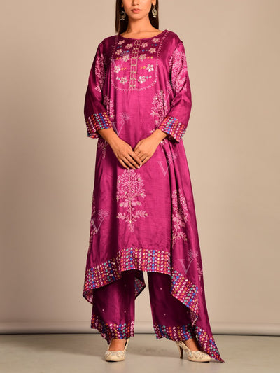 Wine Printed Hand Embroidery Kaftan Set
