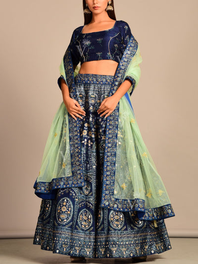 Blue Vasansi Silk Lehenga Set