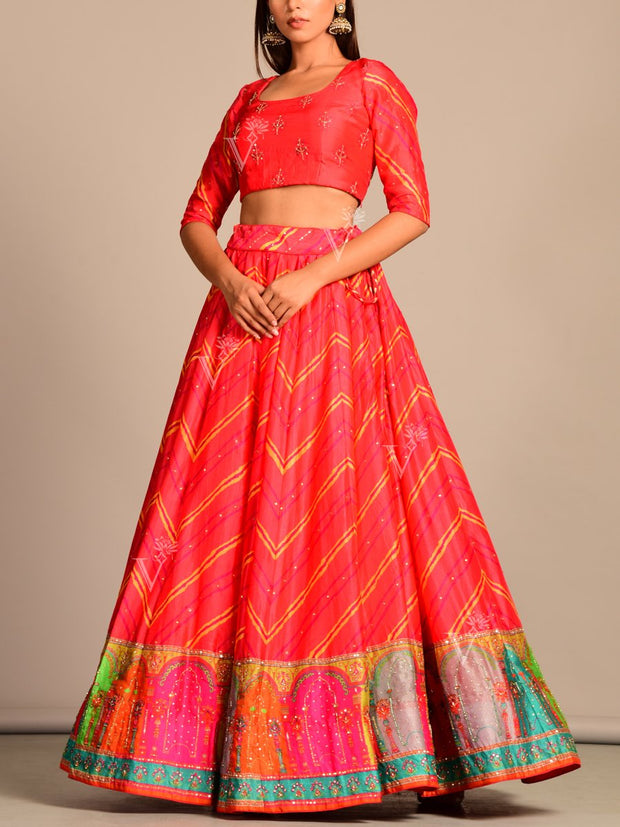 Orange Leheriya Lehenga Set