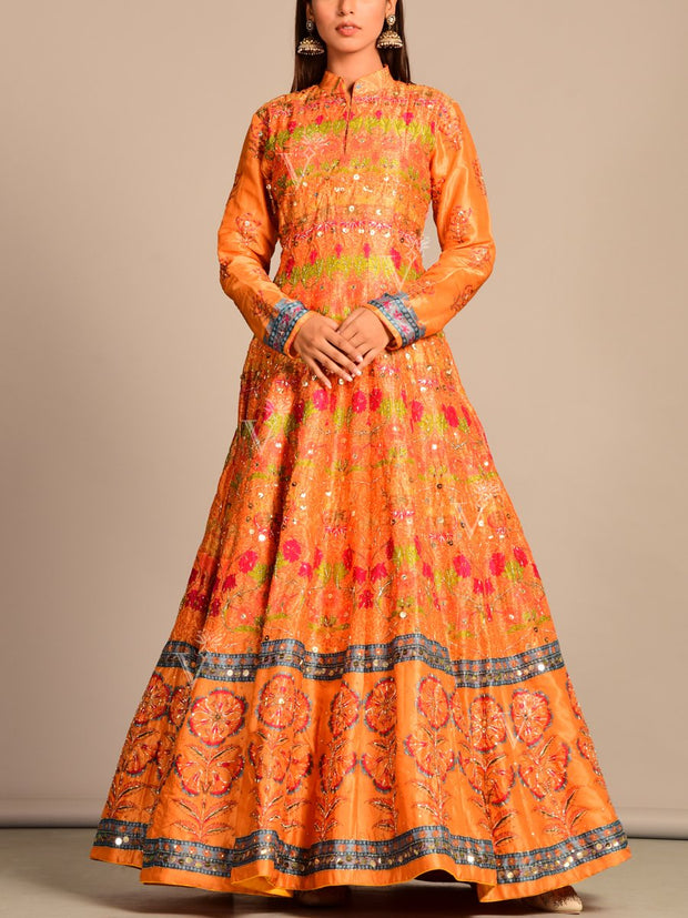 Orange Vasansi Silk Anarkali Gown