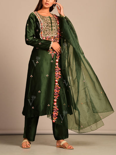 Dard Green Vasansi Silk Suit Set