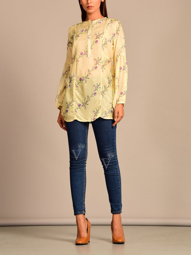 Pant, Shirt, Pant set, Western, Silk, Modern, Casual wear, Work wear, Contemporary, Button down, Printed, Asymmetric, Puffed sleeves