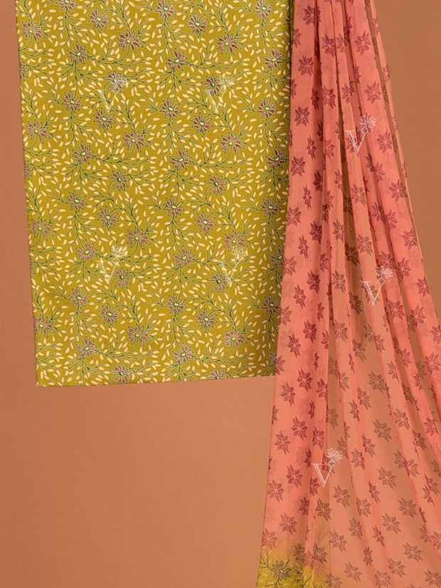 Mehandi Green Cotton Dress Material