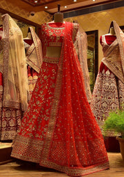 In-Store Red Raw Silk Lehenga Set