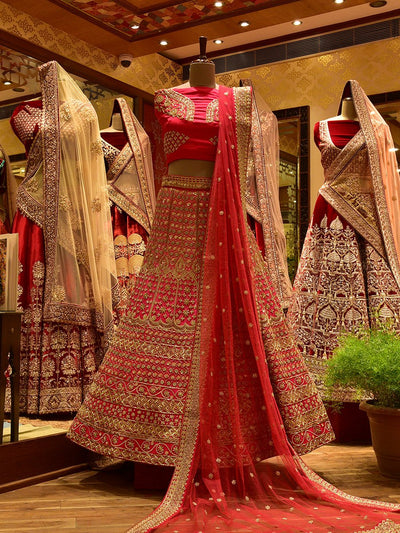 In-Store Pink Shaded Satin Lehenga Set