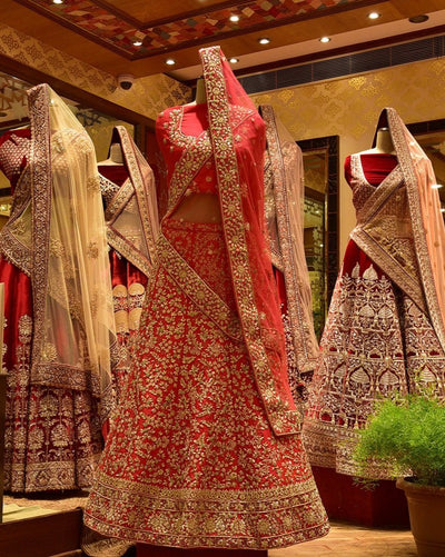 In-Store Red Silk Lehenga Set