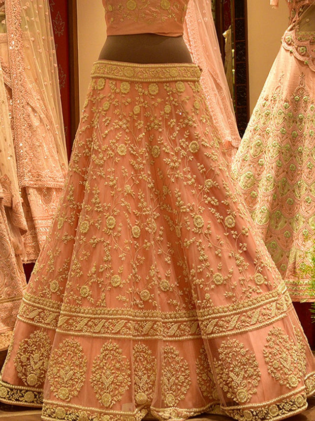 In-Store Pink Net Lehenga Set
