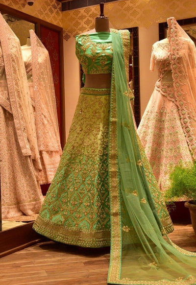 In-Store  Green Shaded Satin Lehenga Set