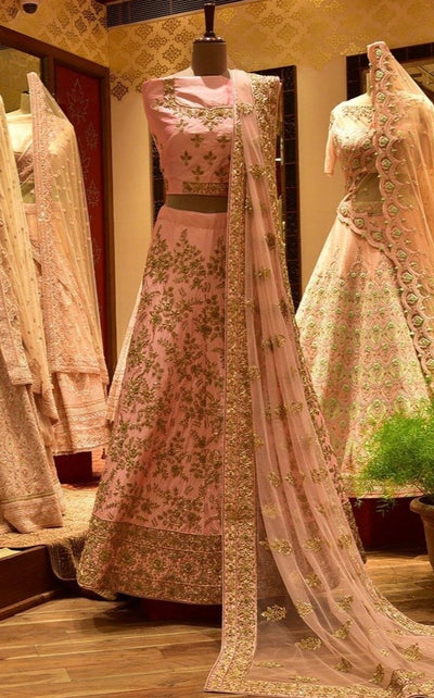 In-Store Pink Satin Lehenga Set