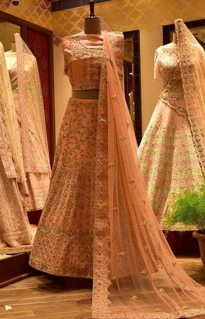 In-Store Peach Raw Silk Lehenga Set