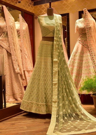 In-Store Powder Blue Silk Lehenga Set