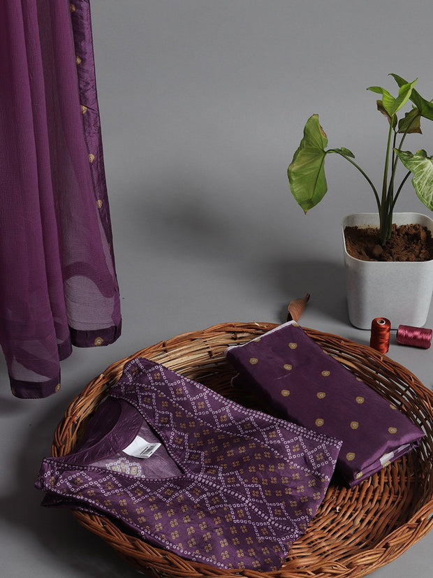 Purple Bandhani Silk Printed Dress Material