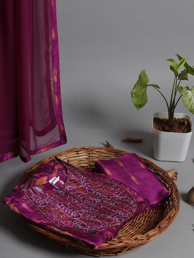 Purple Silk Printed Highlighted Dress Material