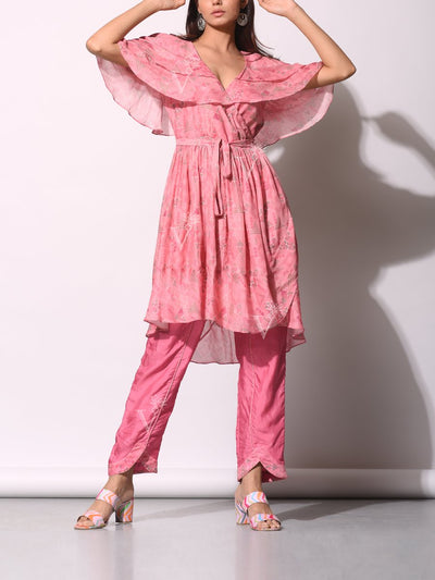 Pink Geometrical Printed Front Tie-Up Pant Set