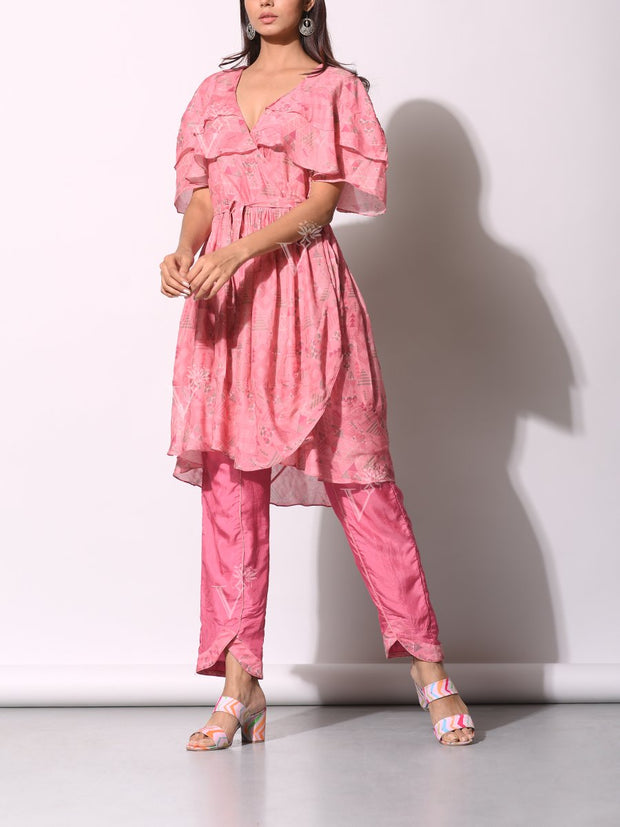Tunic, Pant Set, Printed, Geometrical, Ruffle, Tiered, Western, Tops, Georgette, Silk, Co-ord, Co-ord Set, Light weight
