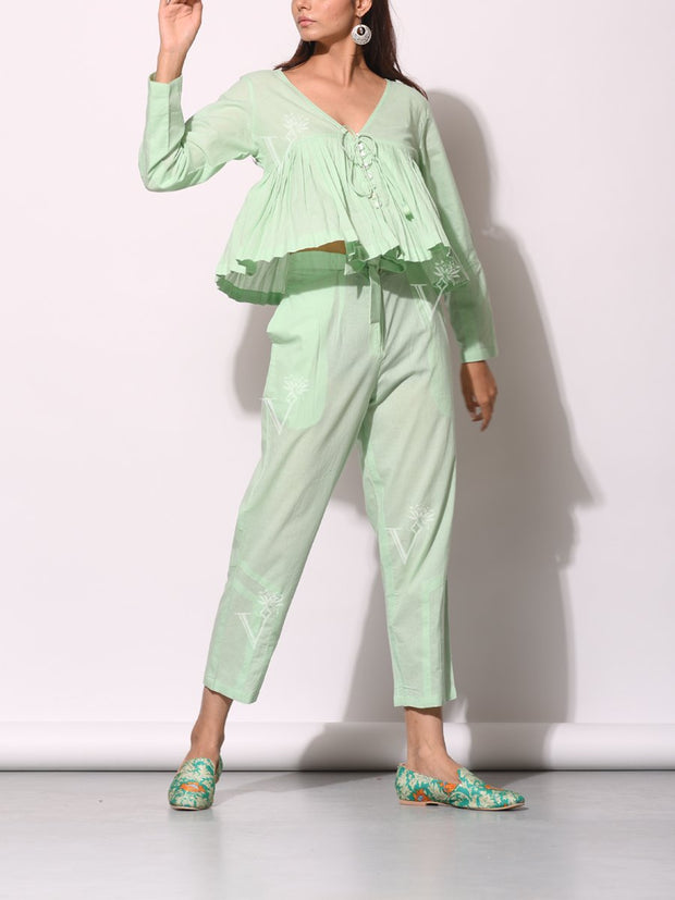 Mint Green Kedia Top With Front Tie-Up Pant Set