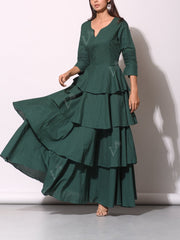 Bottle Green Cotton Tiered Dress