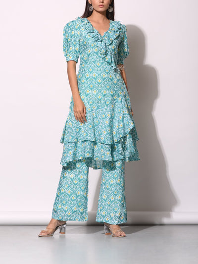 Pant set, Dress, Ruffled, Patola, Pritned, Silk, Tunic, Fusion wear, Ruffled, Traditional, Light weight, Dress